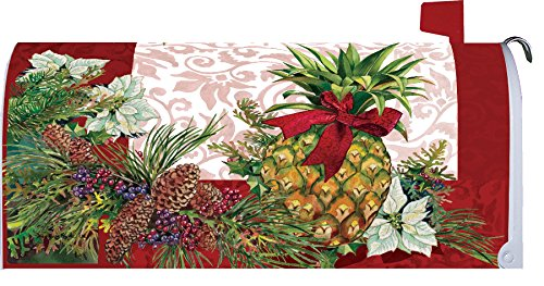 Custom Decor Holiday Pineapple - Mailbox Makeover - Vinyl with Magnetic Strips for Steel Standard Rural Mailbox - MADE IN THE USA - Copyright, Licensed and Trademarked by Inc.