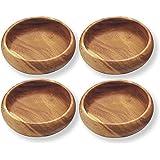 "Pacific Merchants Acaciaware Round Calabash Bowls, 6"" x 2"", Set of 4"