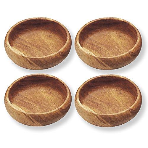 Pacific Merchants Acaciaware Natural Acacia Wood Round Calabash Bowl, 6-Inch, Set of 4
