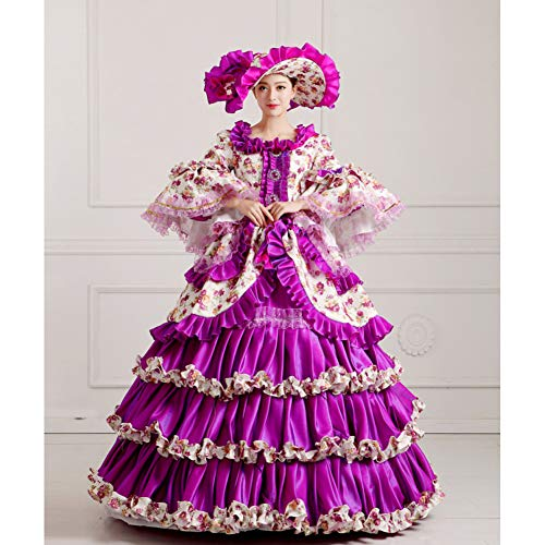 Cosplay Élégante Femmes Costume Maquillage Qaqbdbckl Reine Royal Violette Longue Robe Halloween Partie WDHY29IeE