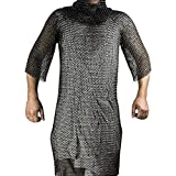 Medieval Renaissance Knight's Chain Mail Armor Shirt (Black, Large)