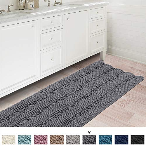 Flamingo P Bath Rug Runner Slip-Resistant Striped Pattern Large Chenille Shaggy Bath Mat Runner Extra Soft and Absorbent Indoor Bath Mat for Bathroom Washable, 47 inch by 17 inch - Gray (Runners Bathroom Rug For)