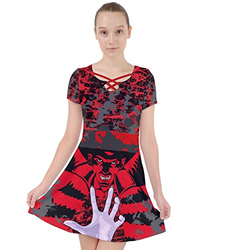 PattyCandy Womens Red & Black Vampire Outfit Caught in A Web Dress - XL ()