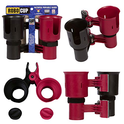 ROBOCUP, RED&Black, Updated Version, Best Cup Holder for Drinks, Fishing Pole, Boat, Beach Chair, Golf Cart, Wheelchair, Walker, Drum Sticks, Microphone Stand (Plastic Chairs Sale)