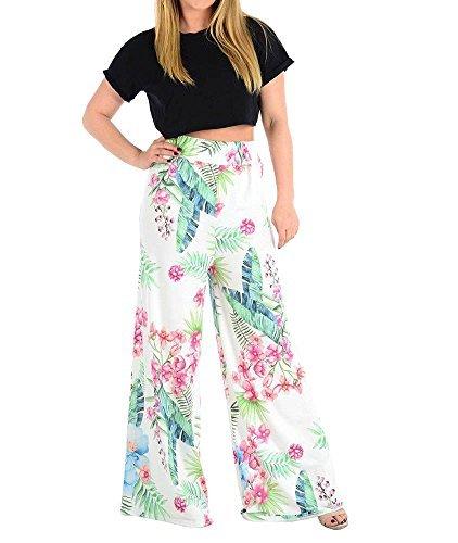 Markenlos Haute für Diva S Blumenmuster tropisches Blatt Druck Mehrfarben  weites Bein Locker Sommer Palazzo Hose 8de0f1f2fe