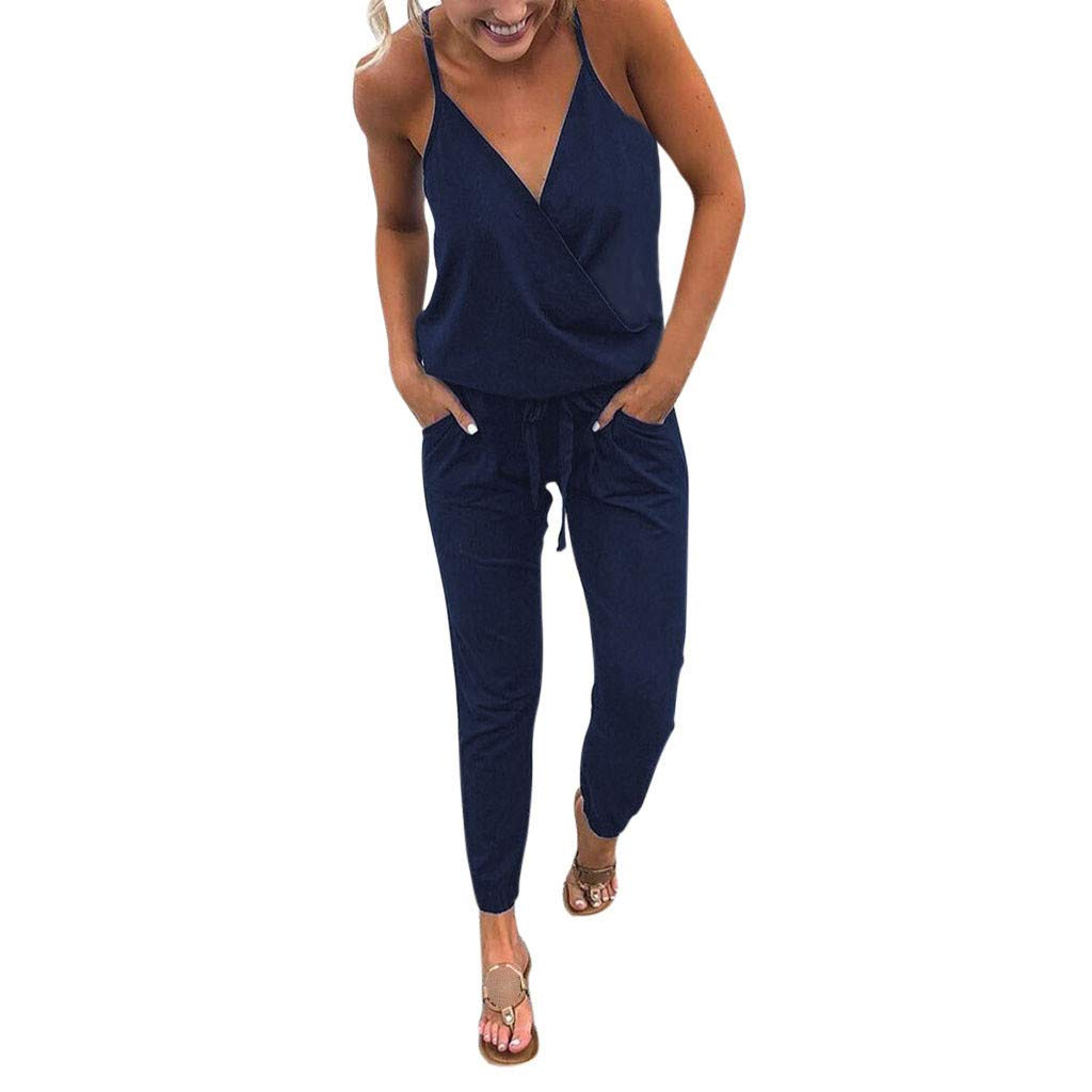 BEAUTYVAN Womens V Neck Spaghetti Strap Drawstring Waisted Long Pants Jumpsuit Rompers