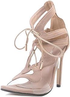 DZW Chaussures à Lacets En Cuir à La Cheville Chaussures En Dentelle Stiletto TailleDemander aux jeunes