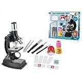 Yamix 14 Piece Set Science Kits Kids Microscope Beginner Microscope Kit, 900x Magnification Kids Science Toys Children Microscope Lamp - Black