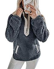 YAMTHR Womens Stand Collar Half Zipper Fuzzy Fleece Sherpa Pullover Sweatshirt Winter Outwear with Pockets