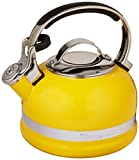 yellow tea kettle stainless steel - KitchenAid KTEN20SBIS 2.0-Quart Kettle with Full Stainless Steel Handle and Trim Band - Citrus Sunrise