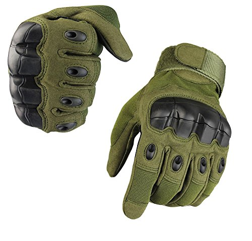 Fuyuanda Full Finger Outdoor Glove Touch Screen Men`s Tactical Cycling Hunting Climbing Sports Glove for Military Airsoft Paintball Pistol Riding Motorcycle Smart Phone Olive Large Olive Paintball Glove