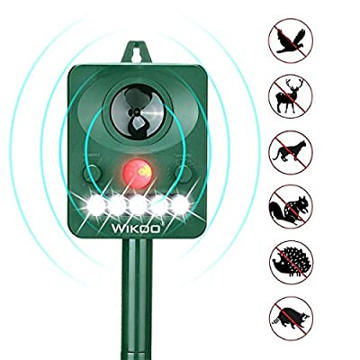 Wikoo Outdoor Solar Animal Repeller, Ultrasonic Animal Repellent with LED Flashing Light, Waterproof Pest Repeller with Motion Sensor, Protect Your Garden and Yard
