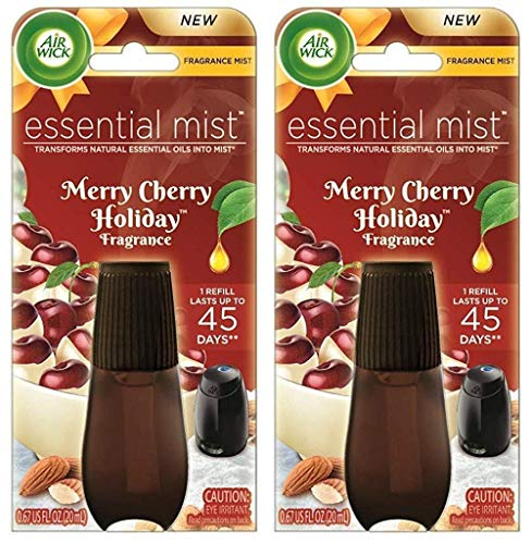 Air Wick Essential Mist Oil Refill - Holiday Collection 2018 - Merry Cherry Holiday - Net Wt. 0.67 FL OZ (20 mL) Per Refill - Pack of 2 - Natural Collection Cherry