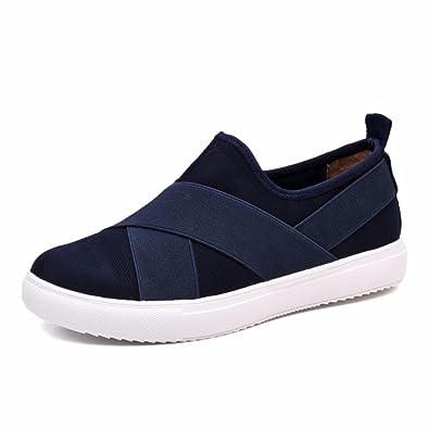 Moonwalker Zapatillas Deportivas para Mujer con Bandas Elásticas (EUR 39 ,Azul Marino)