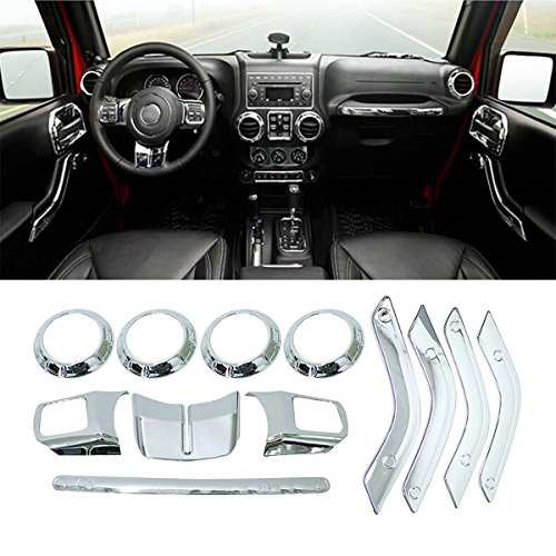 ICARS Silver Interior Trim Kit Decoration Steering Wheel Air Conditioning Vent Copilot Handle Cover Trim for 11-17 Jeep Wrangler JK Unlimited Rubicon Sahara Accessories 12 Pcs