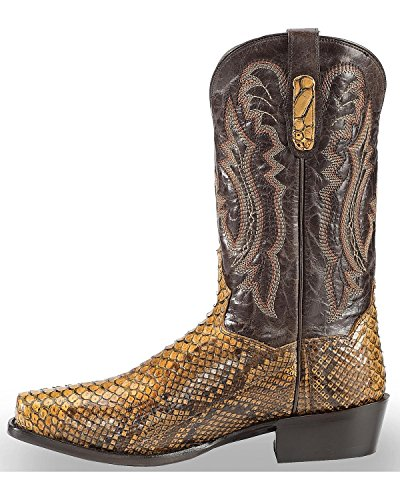 Dan Post Heren Taupe Back Cut Python Cowboy Boot Square Teen Taupe 13 D