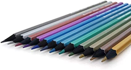 THREE 12 colores / Caja Lápices de colores metálicos de madera negra Lápiz de dibujo hermoso Pintada Crayones de plomo Arco iris, A: Amazon.es: Oficina y papelería
