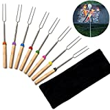 WANGDAFANG Marshmallow Roasting Sticks Extending Roaster Set of 8 Telescoping Smores Skewers & Hot Dog Forks 32 Inch Fire Pit Camping Cookware Campfire Cooking