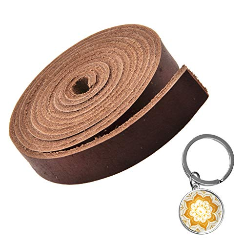 (Mandala Craft Genuine Leather Strap, Flat Cowhide Strip Rope for Bags, Drawer Pulls, Handle Wraps, Ribbons, Clothing, Belts, Jewelry Making (3/4 Inch Wide, 72 Inches Long, Brown))