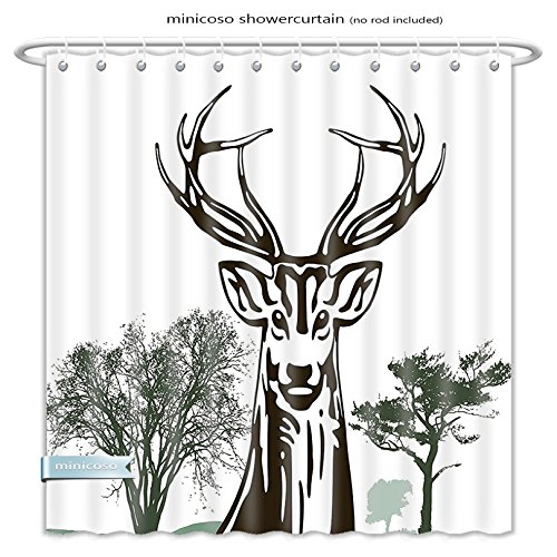 Minicoso Shower Curtains Antlers Decor Deer Moose With Trees Silhouettes Outline Of Village Mountain Fall Forest Polyester Fabric For Bathroom Size-48