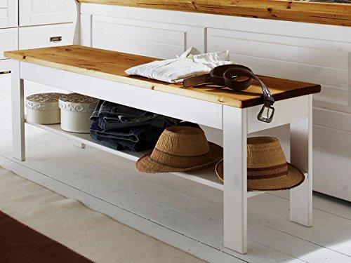 Bettbank Bank 'Mailand-weiß' Kiefer weiß massiv Holz honig