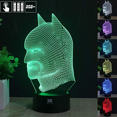 - HUI YUAN Batman 3D Lamp Room Bedroom Decorative Night Light Multi 7 Color Change USB Cable Smart Touch Button LED Desk Table Light Kids Kiddie Gift Home Decoration