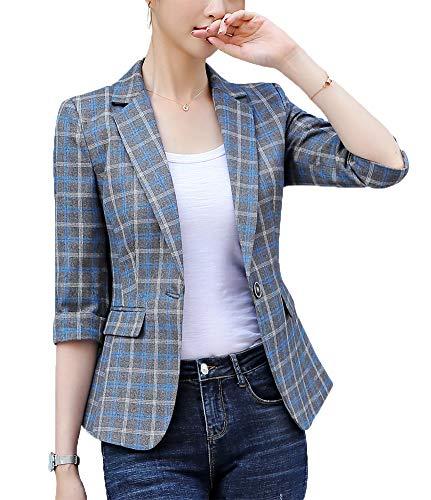 Women's Casual One Button Blazer Jacket Slim Fit Work Office Blazer (Navywhite, X-Large)