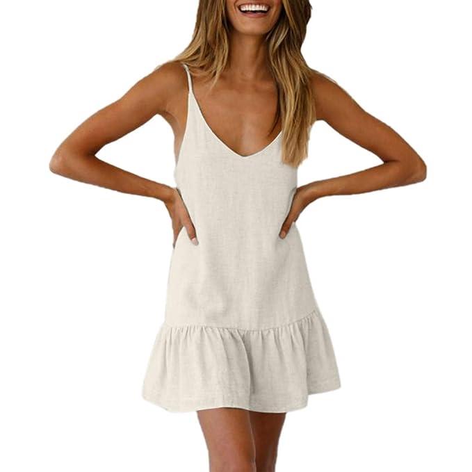 9fbab0bc7db2 SOMESUN Vestito da Donna Senza Maniche Summer Dress Irregolare Abito  Spiaggia Gonna Lunga Tulle a Vita