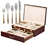 italian 12 drawer storage chest - Italian Collection 'Tuscana Gold' 75-Pc Premium Silverware Flatware Serving Set, Dining Cutlery Service for 12, 24K Gold Plated 18/10 Stainless Steel Hostess Serving Set in a Chest
