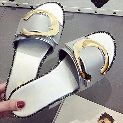 hebilla de metal hebilla del cinturón de deslizadores de señora palabra arrastre sandalias planas y zapatillas A