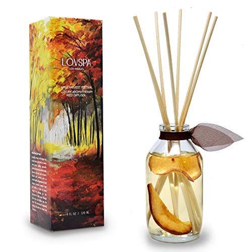 LOVSPA Apple Harvest Reed Diffuser Oil Set | Fresh Red Apples & Subtle Notes of Roasted Pears | Infused with Real Fruit! Perfect Fall & Holiday Scent! | Great Home Gift Idea