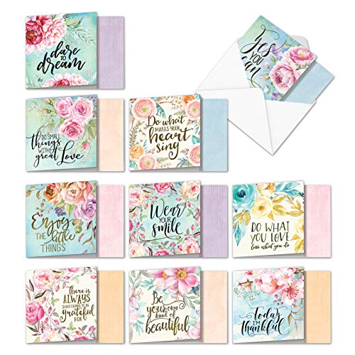 10 Watercolor 'Words of Encouragement Assortment' Blank Note Cards (4.8