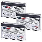 Replacement Batteries for CF6V7 PE6V7.2F1 SLA0925 CA160 6V 7Ah F1 (Set of 3)