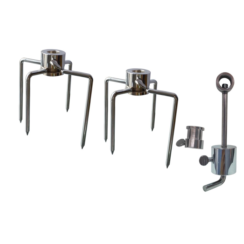 Onlyfire 6006 Grill Replacement Rotisserie Meat Forks(1-Pair) Kit with Spit Counter Balance and Bushing--Fits 1/2'' hexagon & 3/8'' and 5/16'' square Spit Rods