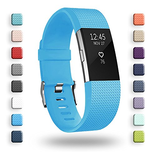 POY Replacement Bands Compatible for Fitbit Charge 2, Classic Edition Adjustable Sport Wristbands, Small Cerulean