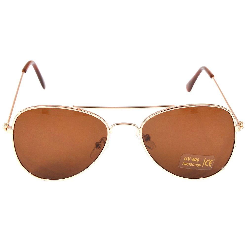 Children Aviator Uv400 Protection Metal Frame Sunglasses Gold
