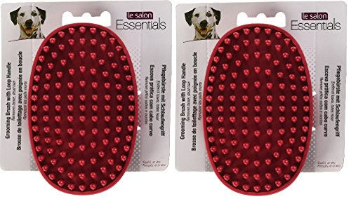 Le Salon Rubber (Le Salon Essentials Rubber Dog Grooming Brush with Loop Handle [Set of 2])
