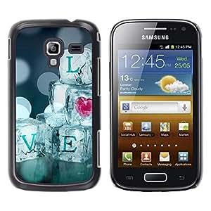 FECELL CITY // Duro Aluminio Pegatina PC Caso decorativo Funda Carcasa de Protección para Samsung Galaxy Ace 2 I8160 Ace II X S7560M // Quote Ice Bling Heart Blur Diamonds