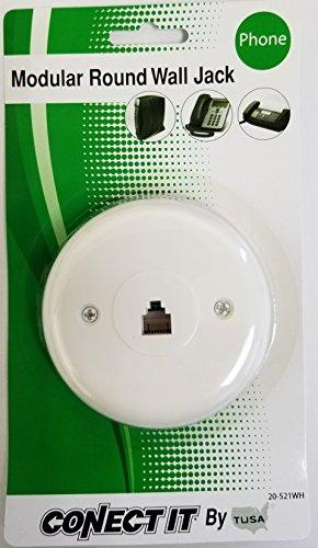Telephone Modular Round Wall Jack White (Round Jack Phone)