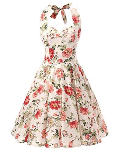 Ensnovo Womens 1950s Halter Floral Spring Garden Party Picnic Dress Peony, M - Garden Peonies