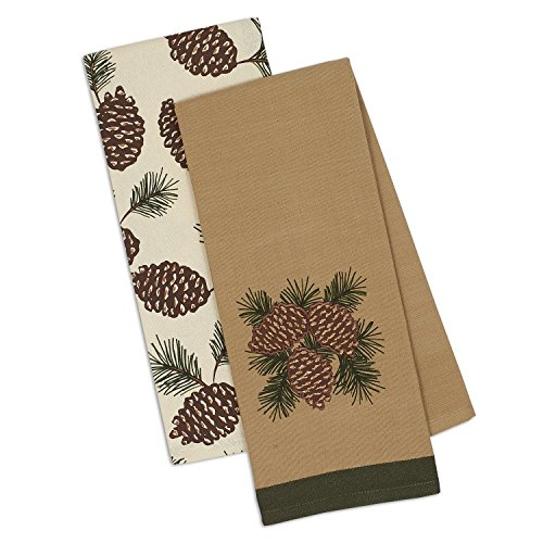 (DII Design Imports Holiday Christmas Mountain Pine Pinecones Kitchen Dishtowels Set of 2 ~ Fall Winter)