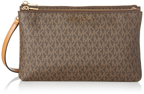 (Michael Kors Adele Signature Double Gusset Crossbody,)