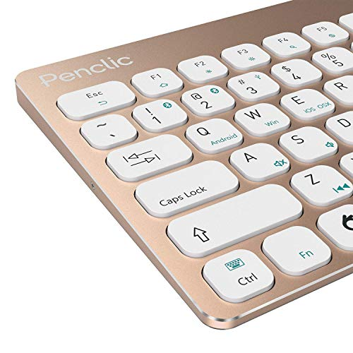 Penclic KB3 Bluetooth Keyboard - Compact Size with Full-Size Keys, Brushed Aluminium Body and Rechargeable Battery. Color - Yellow Gold. ()