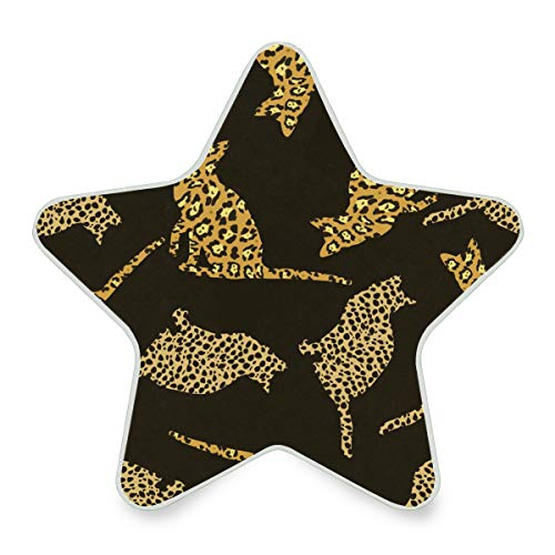(senya Plug-in LED Night Light Lamp with Dusk to Dawn Sensor, Wild Cats Seamless Pattern Star Shaped Kids Bedside LED Night Lamp)