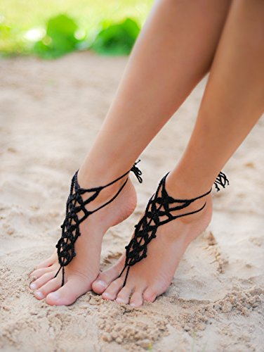 Black Barefoot Sandal, Feet thongs, Crochet Foot jewelry, Women's Fashion Accessory Nude shoes, Gift for her, Wedding shoes, Bridesmaid gift