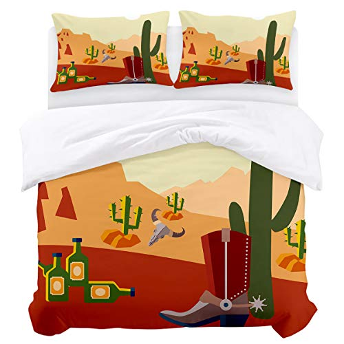 KAROLA 3Pcs Duvet Cover Set King,Bedding Set Soft Comforter Cover Zipper Closure Quilt Cover Sets Western Landscape Silhouette Cactus Desert American Country Style Design (90