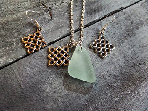 (Infinity Celtic Knot Scottish Sea Glass Necklace and Earrings Set in Aqua and Silver)