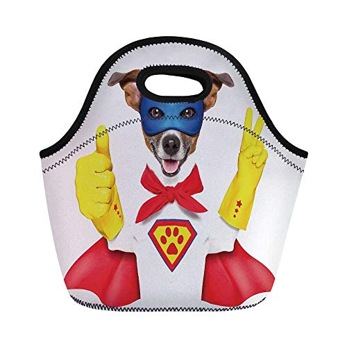 Superhero Durable Lunch Bag,Super Puppy Hero Dog in Cape and Mask Costume Humor Funny Cute Picture Decorative for School Office,11.0