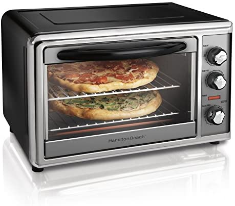 Hamilton Beach Countertop Rotisserie Convection Toaster Oven, Large,Black/ Stainless Steel (31107D)