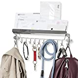 Wallniture Entryway Organizer - Wall Mount Coat and Key Holder - 18 inch Rack with 12 Hooks Chrome Finish